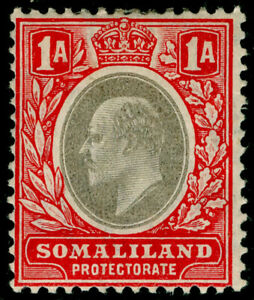 SOMALILAND PROTECTORATE SG46a, 1a grey black&red, M MINT. Cat £21. CHALKY