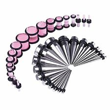 36PCS Gauges Kit Stainless Steel 14G-00G Tapers Pink Plugs Stretching Set
