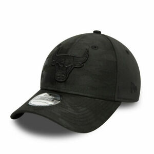 NEW ERA 39THIRTY CHICAGO BULLS BASEBALL CAP.NBA STRETCH FIT BLACK CAMO HAT W21