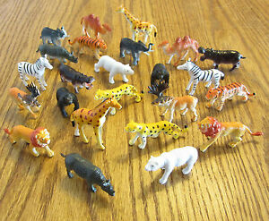 """18 NEW ZOO ANIMALS TOY PLAYSET WILD JUNGLE ANIMAL  2"""" SIZE PARTY FAVORS TIGER"""