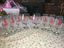 8 VTG Barware Drink Glass Snifter Asphalt Concrete Equipment Machinery Red Gold