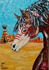 New ListingAceo Original Dark tan and white Nativ American war horse by artistnelson