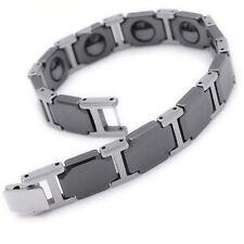 Black Ceramic & Silver tungsten link magnetic MEN bracelet watch bracelet TC12