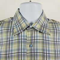 Robert Talbott Carmel Mens Yellow Blue Windowpane Plaid Dress Button Shirt Large