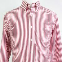 BROOKS BROTHERS 346 NON IRON REGULAR FIT RED STRIPED BUTTON UP SHIRT 17 2/3