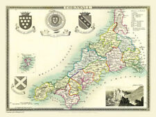 Cornwall Antique Europe County Maps