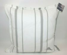 NWT $125 TOMMY BAHAMA 22x22 White Grey Embroidered Stripe LOGO Down Decor Pillow