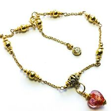 Jewellery Red Glass Heart Bead Charm Gold Ankle Bracelet Anklet Chain Foot