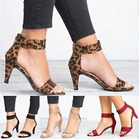 Women's Kitten Mid Heels Ladies Ankle Strap Sandals Summer Zipper Casual Shoes