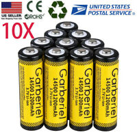 10X 14500 (AA) Battery 3.7V 1200mAH Li-ion Rechargeable Batteries for LED Torch