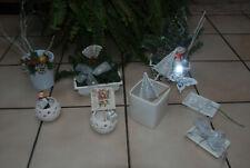 Lot d'articles de Noël blancs : montage, vasques , photophores ...