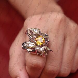 5.00 Ct Citrine Cushion Cut 14K White Gold Over Silver Mermaid Ring Size 7
