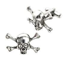 Alchemy Gothic Skull N Cross Bones Stargazer Swarovski Crystal Pewter Cufflinks
