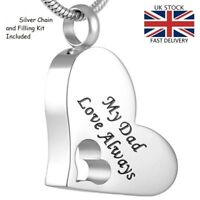 Dad Love Always Cremation Urn Pendant Ashes Necklace Funeral Memorial Jewellery