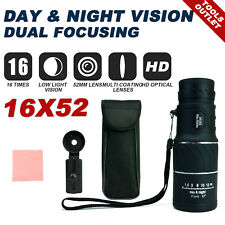 16x52 HD Optical Monocular Telescope Day & Night Vision Hunting Camping Hiking