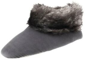 Isotoner Women's Mineral Gray Sabrine Stretch Velour Bootie Slippers