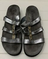 Mephisto Beautiful Floral Jeweled Silver Metallic Sandals SZ 41