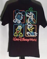 Walt Disney World Neon Signs Mickey Mouse Goofy Pluto Donald Duck Large T-shirt