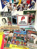 HUGE Vintage Philadelphia Phillies Baseball Paper Ephemera Magazine Mixed Lot