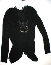 New Womens NWT Designer PF Paola Frani Top Sweater 8 Black Italy 44 Silk Crystal