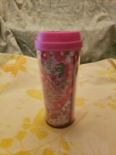 Lilly Pulitzer Travel Coffee Mug 16 oz Double Wall Tumbler Pink Flowers