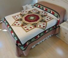 NEW! AMISH HANDMADE QUILT! ~ Improved Lone Star ~ with Applique ~ 102 x 114