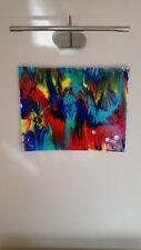 """resin pour canvas Framed acrylic paints gloss finish 20×16"""" bright colours"""