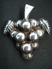 SIGNED NSH Mexico Sterling Silver 925 Cluster Bunch GRAPES & Leaves Pin BROOCH