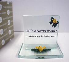 50th Wedding Anniversary Glass Plaque Cake topper Gift NIB 50 loving years