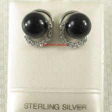 Solid Sterling Silver 925 Set 10mm Black Onyx & Cubic Zirconia Stud Earrings TPJ