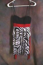 Sweet Storm Woman's Black And Zebra Print Dress RED TIE BACK TIERED sz M  (F)