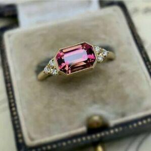 3.79 Ct Pink Tourmaline Vintage Art Deco Engagement Ring 14k Yellow Gold FN 925