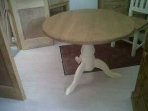 solid pine cream/white round pedastal dining table/farrow & ball/made to measure