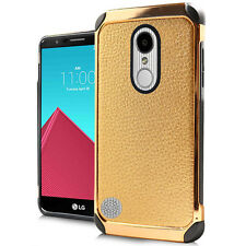 LG K4 2017/PHOENIX 3/FORTUNE GOLD LEATHER LOOK IMPACT CASE HEAVY DUTY COVER