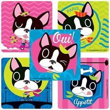 French Bulldogs Stickers x 10 - Dog Birthday Party - Puppies Party - Paris Party