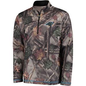 Carolina Panthers NFL Men's Majestic Camo The Woods Half Zip Jacket Medium - NWT