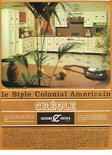 PUBLICITE ADVERTISING 094  1966  CUISINE IDEALE CREOLE style colonial américain