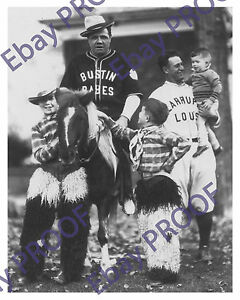 Babe Ruth Lou Gehrig -Bustin Babe's & Larrupin Lou's w/ Pony & Kids (Rare Photo)