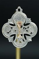 French Religious Communion medal Pendant Sterling gold Silver Chalice Open Work
