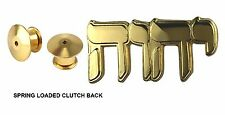 TETRAGRAMMATON HEBREW LETTERS OF JEHOVAH'S NAME 24K GOLD-PLATED TIE TACK PIN