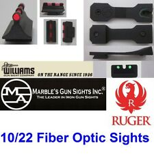 NEW MARBLES ARMS RUGER 10/22 Rear Fiber Optic Sight & Williams Front 60213 Fire
