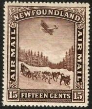"🍁 NFDL. #C6 Airmail, ~ 1931 15¢ Brown ""Dog Sled & Airplane"", MH, [CV=$15]"