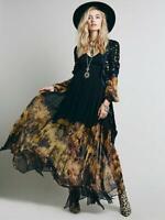 NEW Women's Folded Chiffon Dresses Large Flower Print Long Sleeve Spring Dress