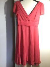 LK Bennett Salmon Silk Occasion Dress Size 14