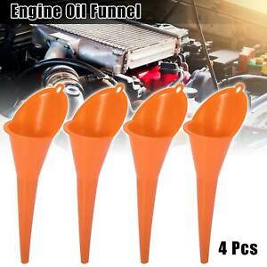 4pcs Universal Engine Oil Funnel Straight Output Orange for Car 28.5cm Length