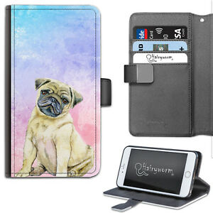 Watercolour Pug Puppy Dog Deluxe PU Leather Wallet Phone Case, Flip Case