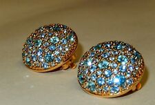 MINT - SUPER RARE SWAROVSKI GOLD PLATE ROUND BUTTON CLIP ON EARRINGS BLUE PURPLE