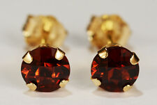 BEENJEWELED NATURAL GENUINE MINED RED GARNET EARRINGS~14 KT YELLOW GOLD~5MM