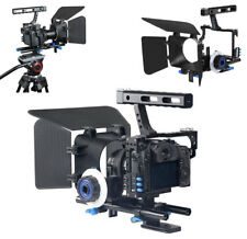 DSLR Video Film Stabilizer Rod Rig Cage + Handle Grip + Follow Focus+Mat box Kit