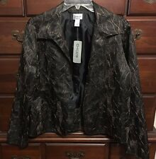 Chico's Black & Bronze Fittonia Cutback Open Jacket Size 2 (12/14) NWT